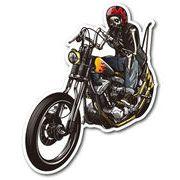 バイカーステッカー BIKER STICKER バイク ハーレー ヘルメット スカル&バイク LEFT 骸骨 ドクロ BK017