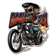 バイカーステッカー BIKER STICKER バイク ハーレー ヘルメット ロカビリースカル LEFT BK010
