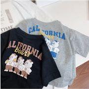 韓国子供服 人気 ゆとり カブス プリント tシャツ 2色★90-130