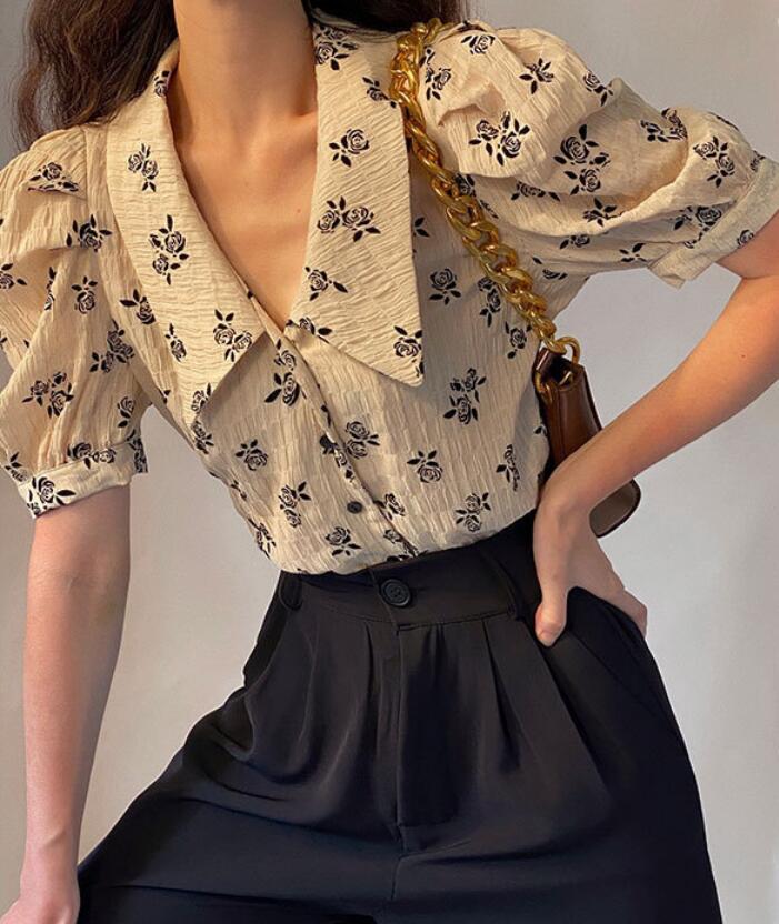2021年春夏新作 韓国風 レディース シャツ パフスリーブ 通勤  上品 OL ファッション S-XL