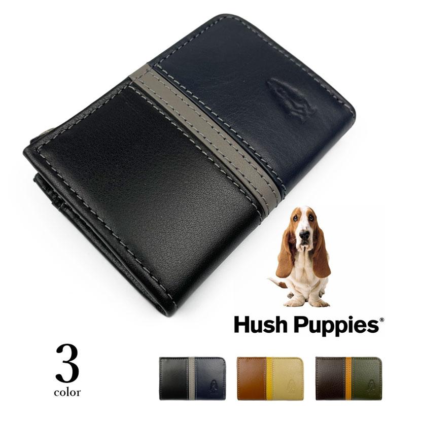 全3色 Hush Puppies ハッシュパピー リアルレザー トリコロールカラー ラウンドファスナー コインケース