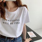 韓国 韓国ファッション カジュアル Tシャツ 半袖 英字 プリント ルーズ コットン シンプル 春夏