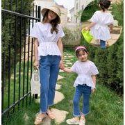 夏新作  親子服 キッズ服  バックシャン リボン付き半袖シャツ  背中見せトップス  韓国ファッション