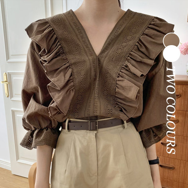 【Women】2021年春夏新作 韓国風レディース服 ブラウス シャツ 無地 ファッション