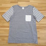 【夏物アウトレット】無地&ボーダー 切り替えTシャツ
