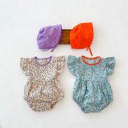 春夏新作 キッズ 女の子 ベビー服 袖なし連体服 花柄 フリル 帽子+ロンパース カバーオール 66-100