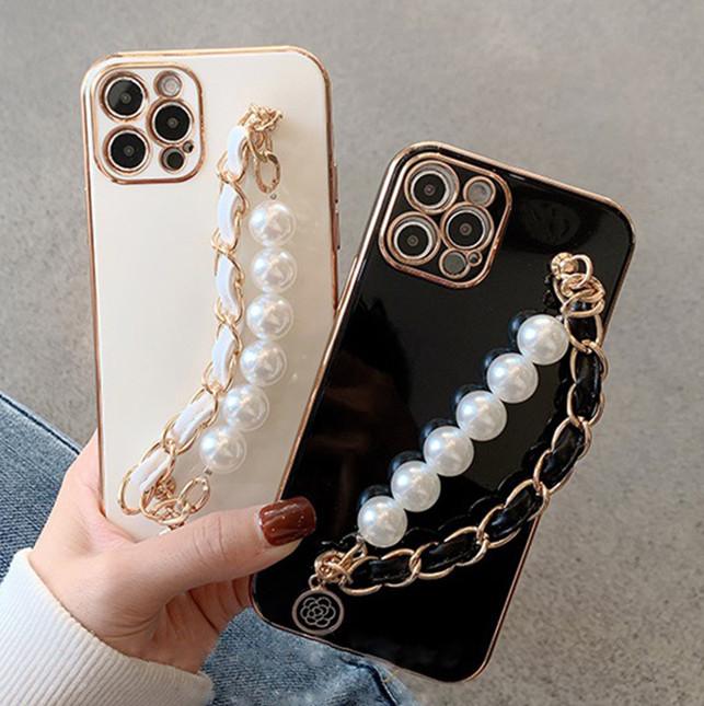 パールチェーン付き iPhone13Pro Max ソフトケース 耐衝撃 アイフォン スマホケース