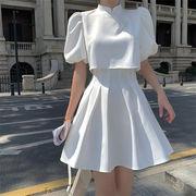 プリーツスカート スカート 2点セット オシャレ 上品映え シンプル ギャザリング カジュアル