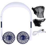 [8月31日まで特価]ネックダブルファン3 USB充電式首かけ扇風機 ホワイト&マットブルー