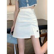 夏 新しいしいデザイン 新しい スタイル 韓国風 折り畳む スプリット スカート 不規則