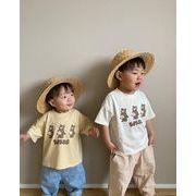 2021年夏新作 子供服 ベビー服 韓国風 tシャツ 熊のプリント 女の子 男の子 かわいい 2色66-90