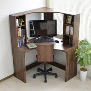 パソコンデスク L字型 コーナー 書棚付き デスク 机 ブラウン 北欧風