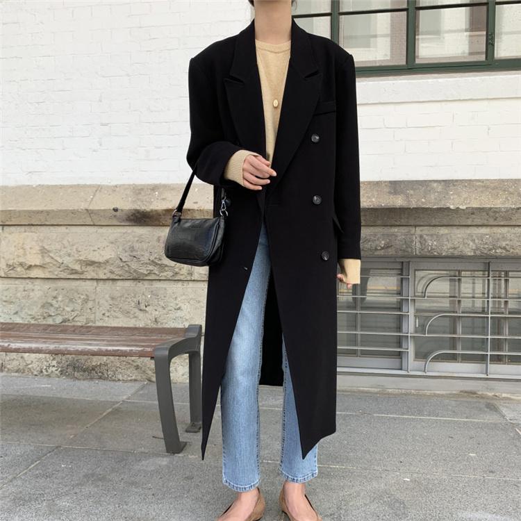 3色 新色入荷 韓国ファッション2021 秋 気質 高品質 中・長セクション 長袖 スーツ コート 百掛け オシャレ
