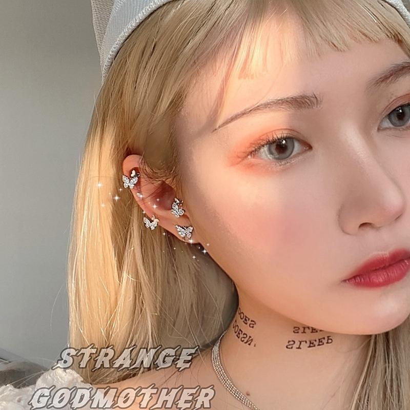 韓国s925シルバーニードルイヤリング小さな蝶のイヤリング女性のイヤリングレトロなシンプルなイヤリング