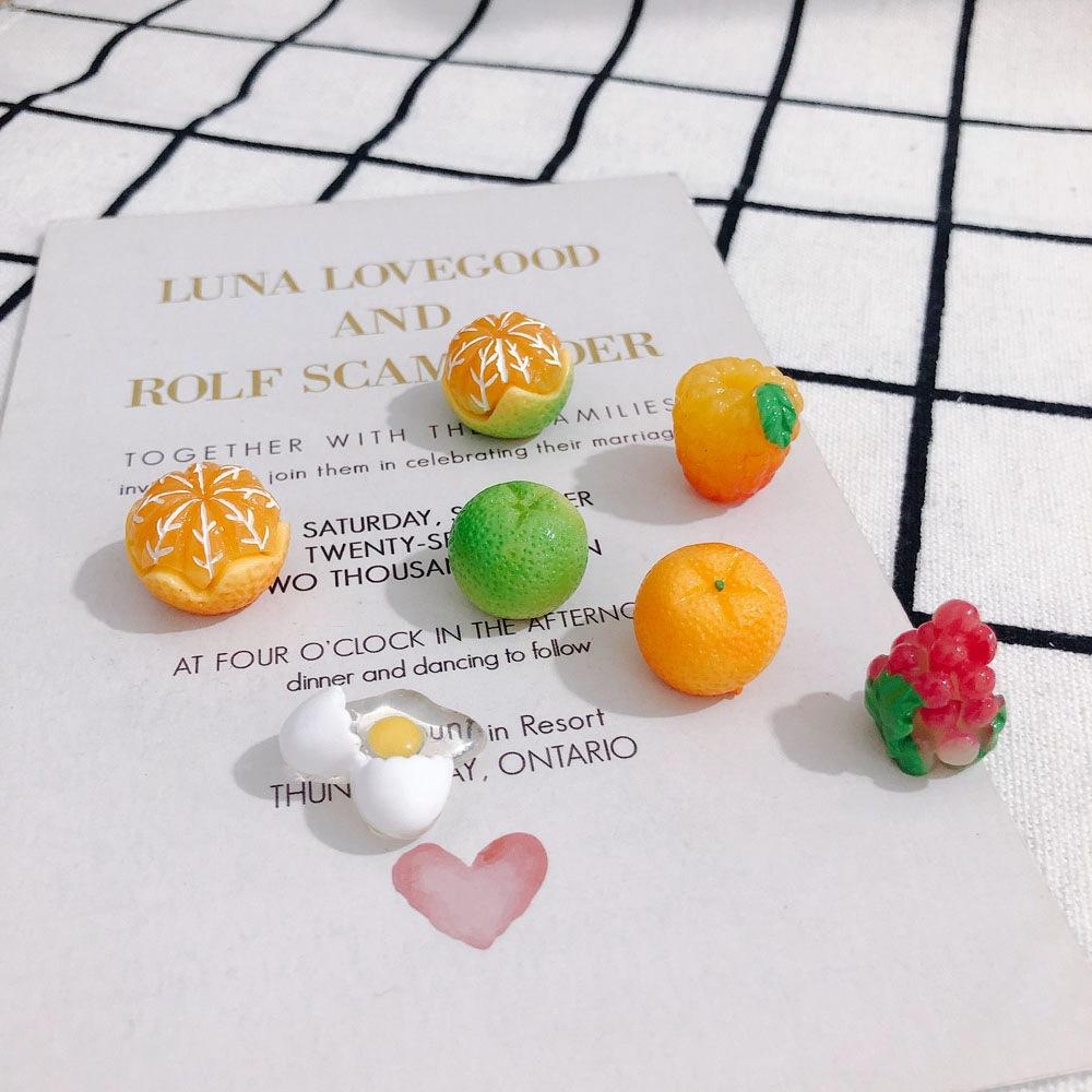 デコパーツ 柑橘系 フルーツ 果物 オレンジ アクセサリーパーツ 材料 葡萄 たまご フィギュア 食玩