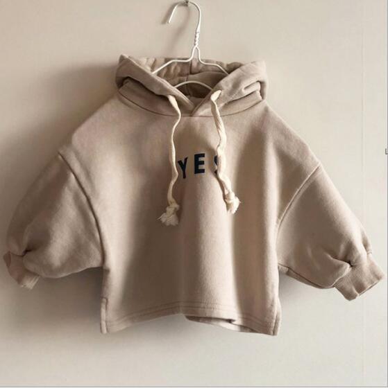 秋冬 子供Tシャツ キッズ 英字 韓国ファッション フード付き トップス 無地 カジュアル系