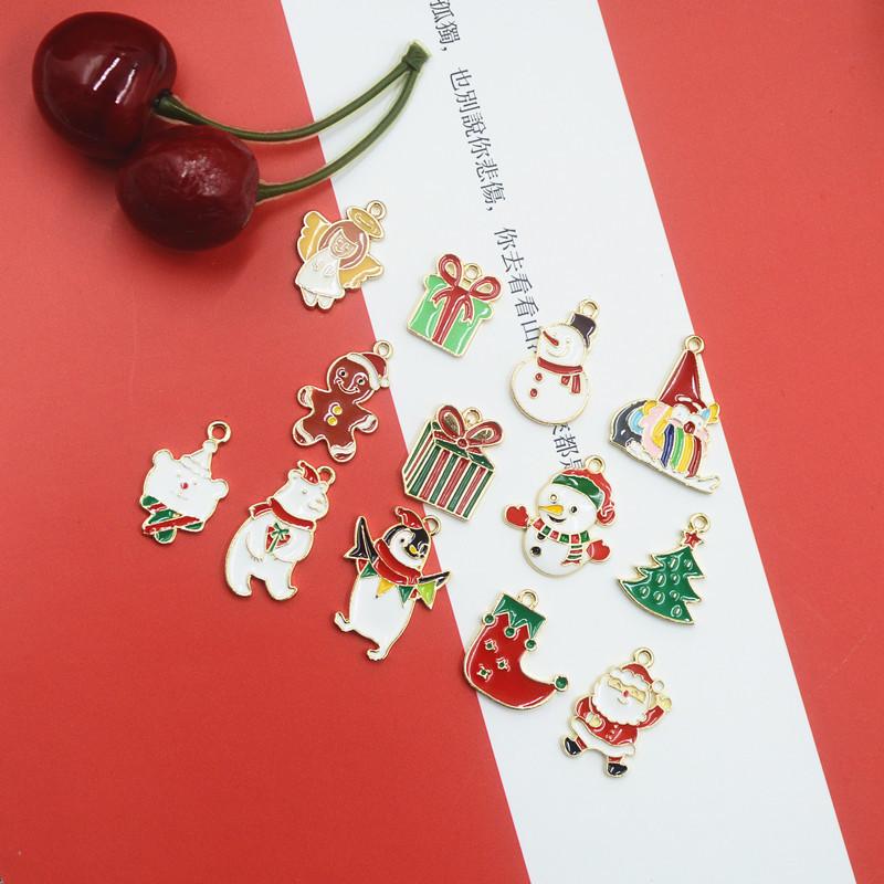クリスマス トナカイ サンタ エポ付メタルパーツ ハンドメイド材料 ツリー 靴下 プレゼント 雪だるま 天使