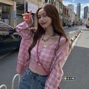 ニッティング カーディガン 薄いスタイル 女 秋 韓国風 短いスタイル トップピンク 格