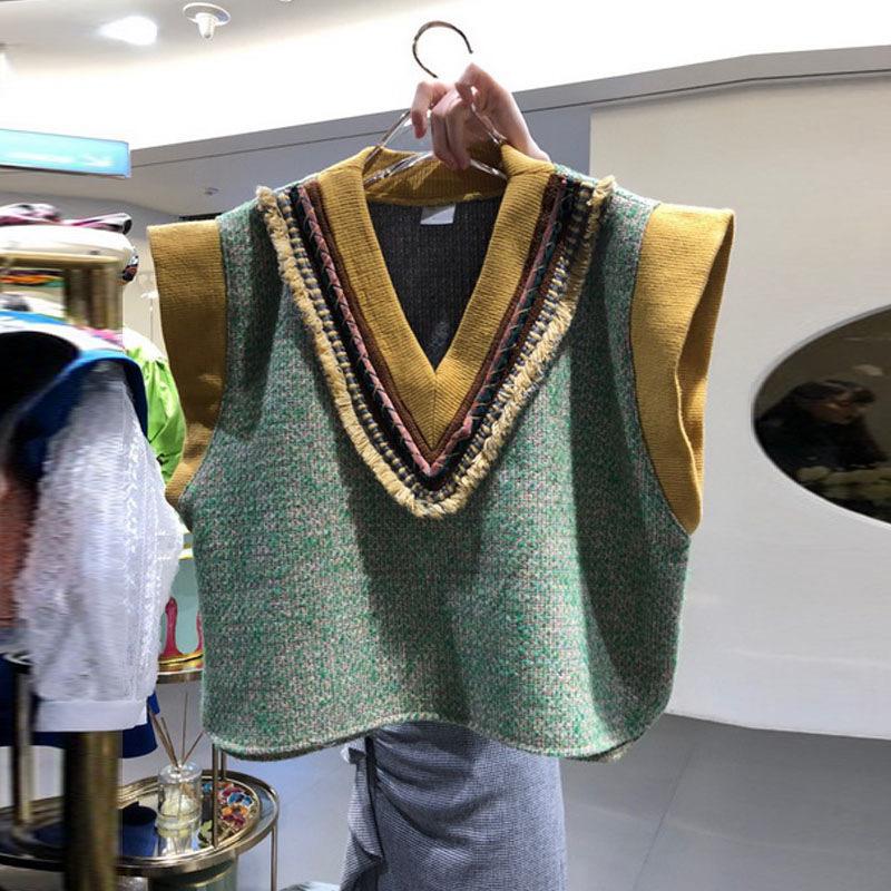 韓国風レディース服 ノースリーブセーター ベスト カラーバリ 可愛い