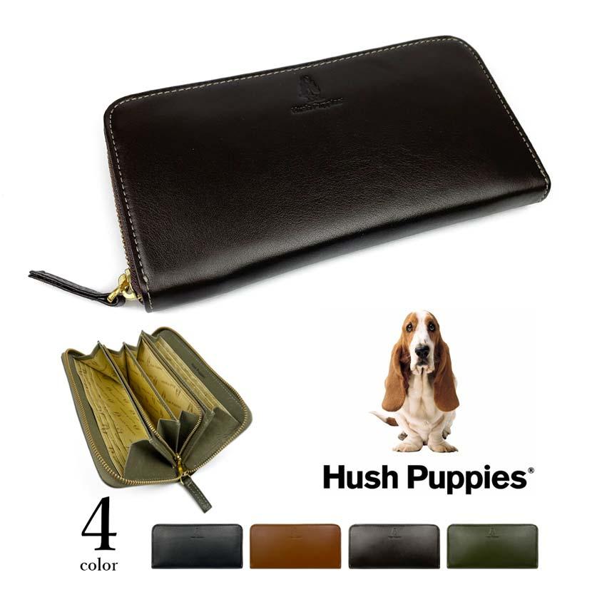 全4色 Hush Puppies ハッシュパピー リアルレザー ラウンドファスナー 長財布 ロングウォレット
