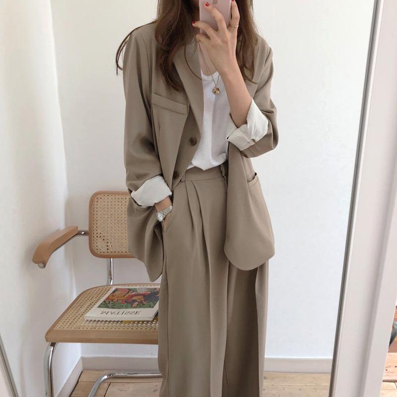 【Women】2021年春夏新作 韓国風レディース服 ルーズスーツ ジャケット パンツ ハイエスト