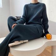 雑誌やSNSで話題 韓国ファッション スリット ニット ワイドパンツ セーター セット 快適である
