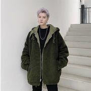 人気のあるデザイン 厚さ コート パッド入りジャケット メンズ ヒップホップ 子羊の毛 冬 両面ウェア