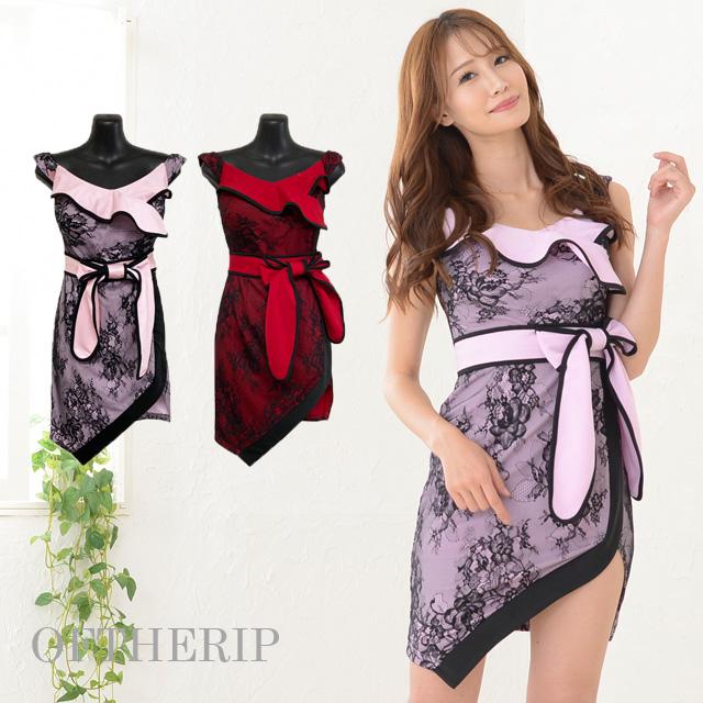ウエストリボンパイピングドレス