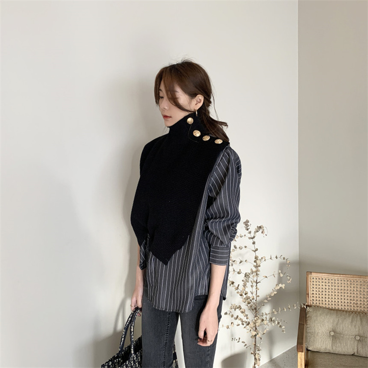 秋トレンド 韓国ファッション 縫付 シャツ フェイク2ピース ニットトップス セーター タートルネック