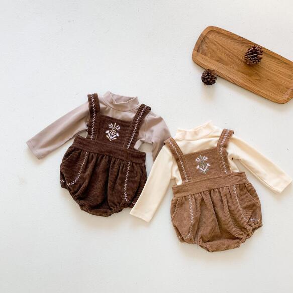 秋 刺繍ベビーロンパース子 tシャツ 韓国風 キッズ  セットアップ 子供服 長袖 ベビー服 オールインワン