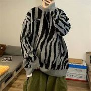 ユニセックス セーターゼブラ柄ハイネックカジュアル 大きいサイズ メンズ