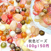 【季節限定 お買い得】秋色 カラー ビーズ ミックス プラスチック 100g beads998