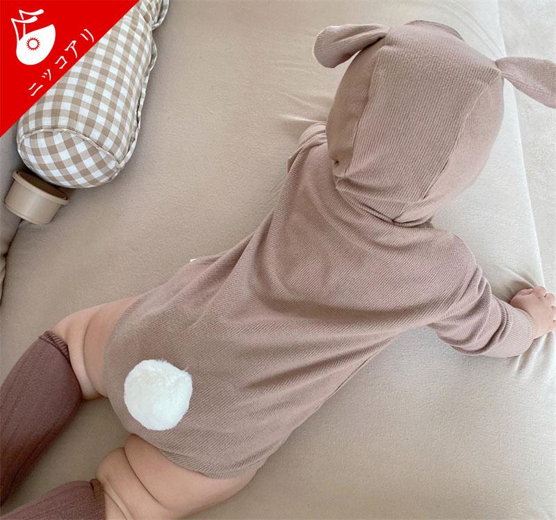 【可愛い耳と尻尾】ロンパース ベビー服 着ぐるみ カバーオール 女の子 男の子
