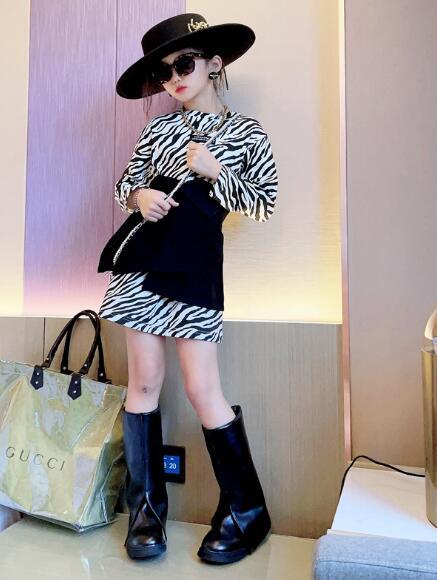 子供服 キッズ  斑馬柄インナー&スカート 可愛い  セットアップ 韓国ファッション カジュアル