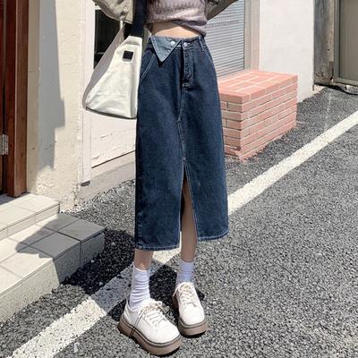 スプリット デニム スカート 女 春秋 中長スタイル 字 新しいデザイン 設計感  ヒッ