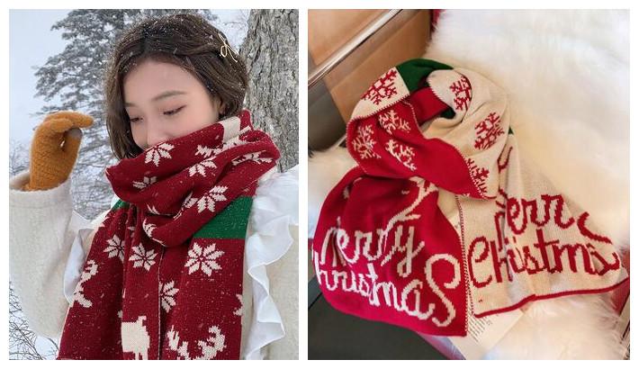 冬  女  スカーフ  ファッション  マフラー  ストール  クリスマス   ニット