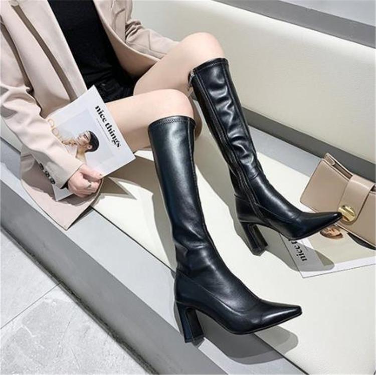 魅力を増すコツ  通勤する ブーツ 女性 ハイチューブ ロングブーツ ハイヒール スリム
