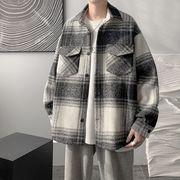 メンズファッション チェック柄 シャツジャケット ストリート系アウター 2021新作 秋冬★全2色