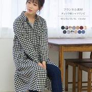 【2021秋物新作】【大きいサイズ有り】ビエラ素材ロングシャツチュニックワンピース