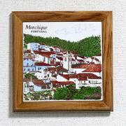 ポルトガル製 ポットプレート  鍋敷き モンシケ  風景 耐熱 壁掛け 絵タイル ウッドフレーム