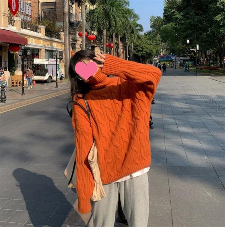 活気少女 通勤する 秋冬 2021 洋風 厚手 タートルネック セーター ゆったりする 気質 トレンド
