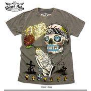 ★グランジロック炸裂!★ハードウォッシュムラ染め金箔ギャングスカルプリントTシャツ