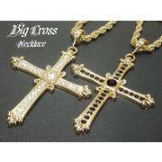 Hip Hop・B系ストーン入りシャープクロスネックレス・十字架