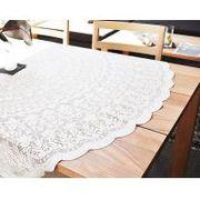 円形ジャガードレース撥水テーブルクロス 直径150cm ホワイト