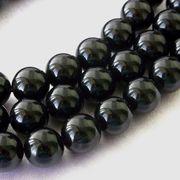 レア モリオン(黒水晶) 一連 真っ黒 連売り 素材 パーツ 丸玉