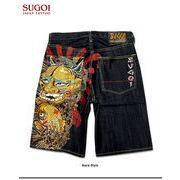 ★これだけ豪華な刺繍は見たことが無い!★「SUGOI」の和柄刺繍デニムハーフパンツ!(般若鯉)★