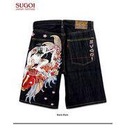 ★これだけ豪華な刺繍は見たことが無い!★「SUGOI」の和柄刺繍デニムハーフパンツ!(サムライ鯉)★