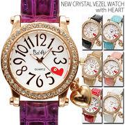 【煌びやかな仕上がり】★チャーム付きNEWクリスタルベゼル腕時計【保証書付】