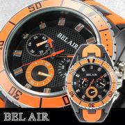 【Bel Air collection】★ バイカラー ラバーベルト メンズ 腕時計 JY1 オレンジ【ビッグフェイス】★