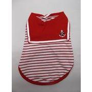 犬の洋服 セーラー服 半袖 赤 サイズS・M・L・XL